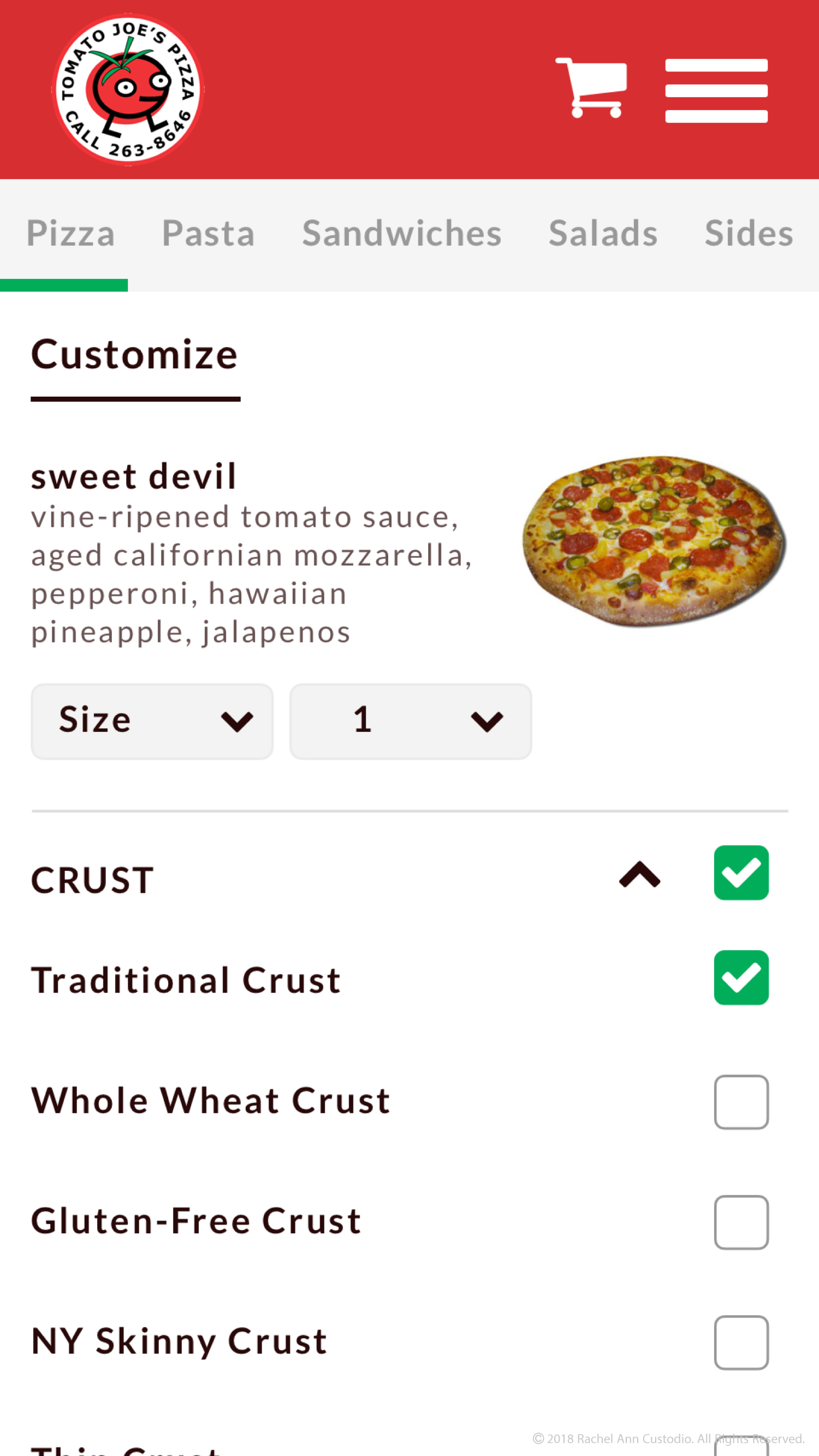 Custom Crust Menu Design