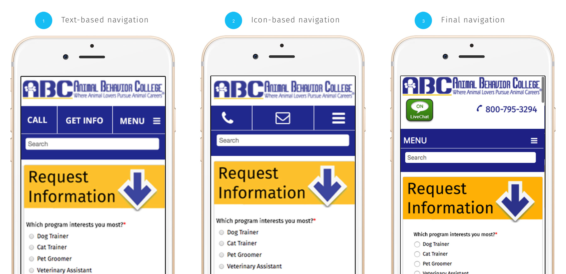 Mobile Responsive Navigation Iterations