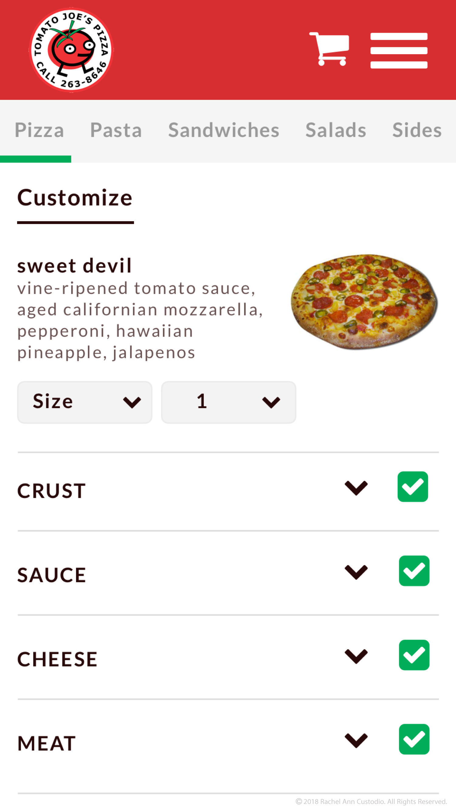 Pizza Custom Menu Design