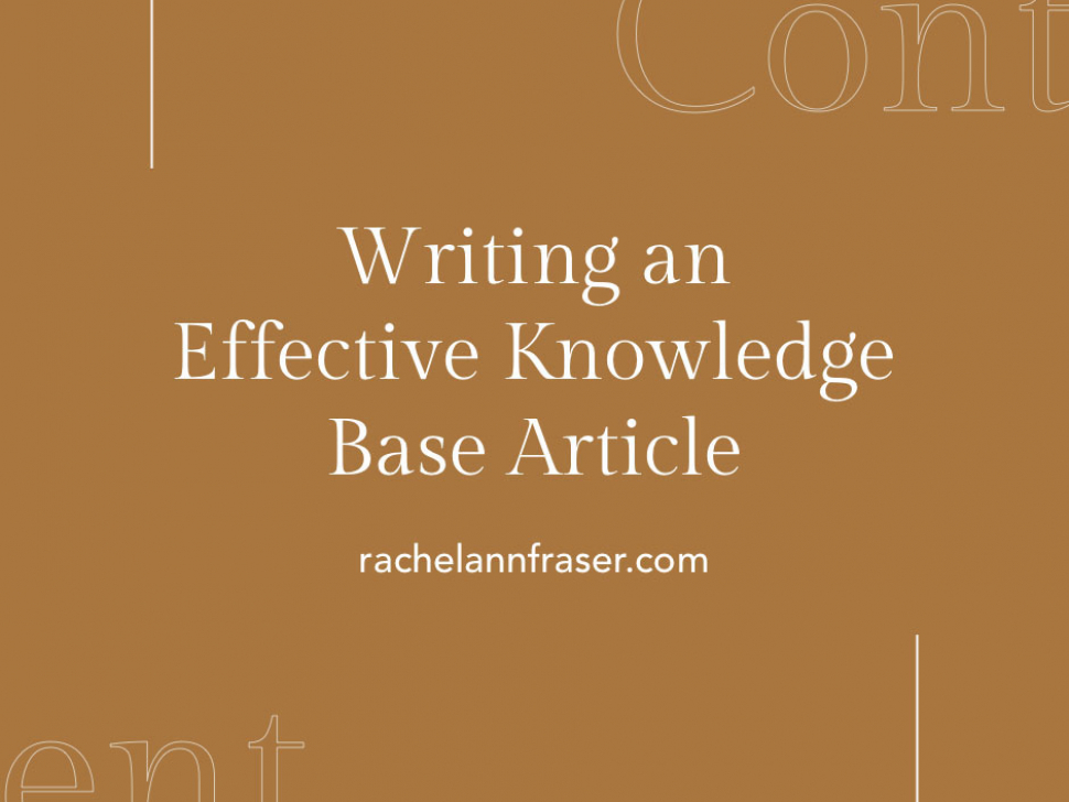 Knowledge Base Article