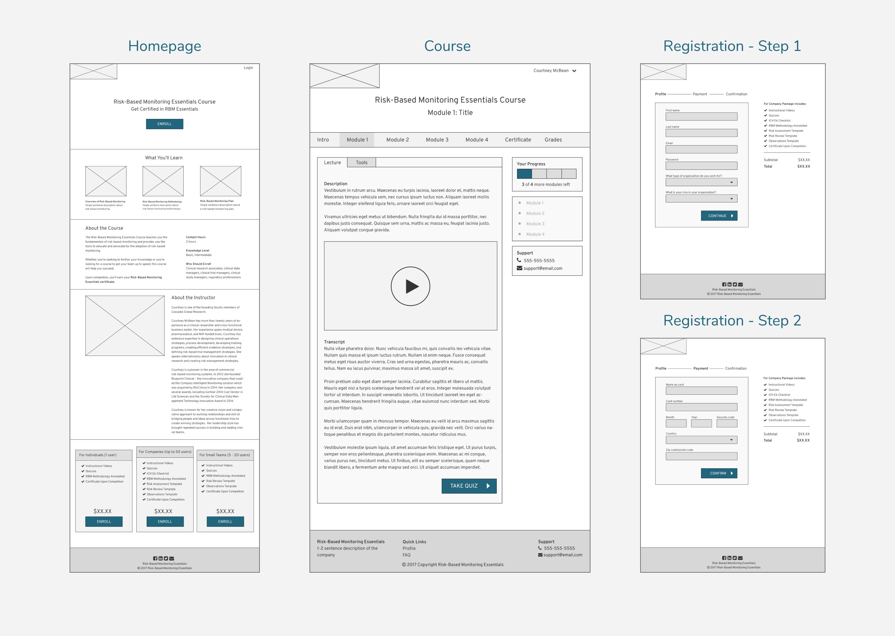 Online Course Wireframes