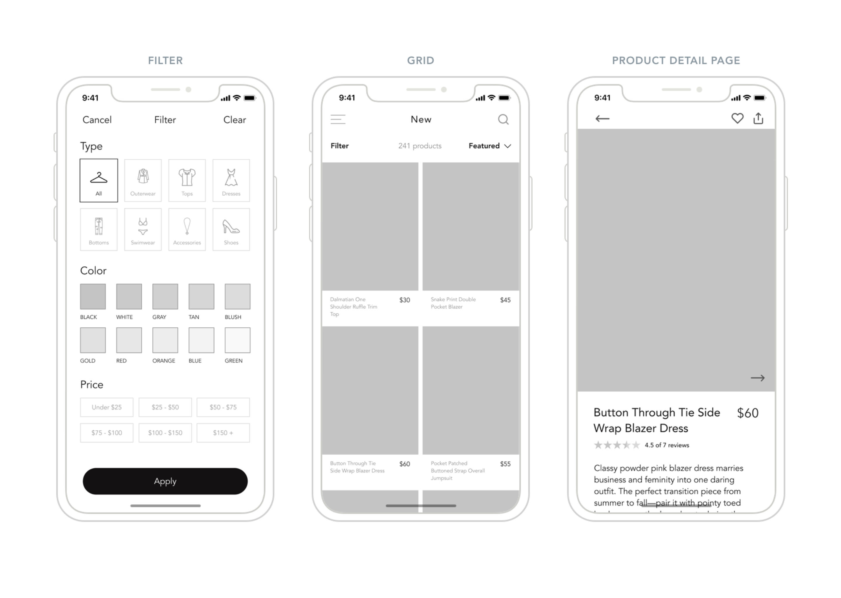 Ecommerce App Wireframes